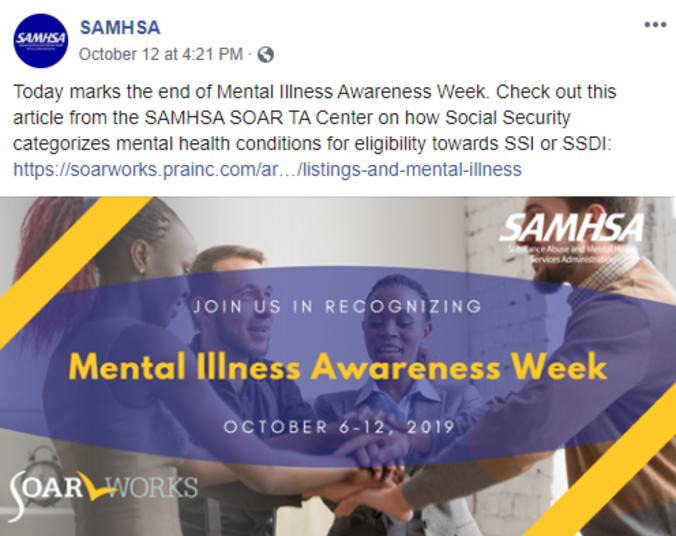 SAMHSA SOAR Facebook post on @SAMHSA