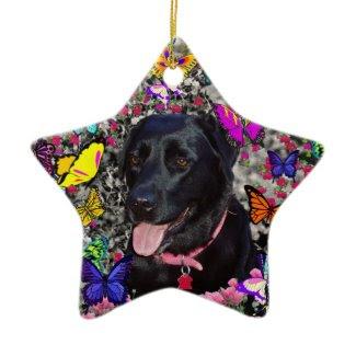 Abby in Butterflies – Black Lab in Butterflies ornament