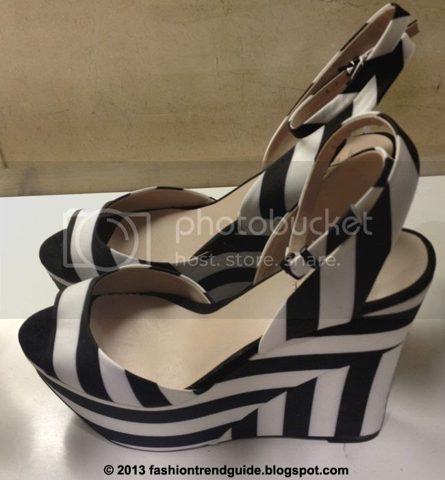 Zara black and white striped fabric wedges
