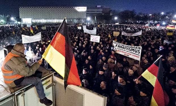 Pegida demonstration in Dresden, Germany