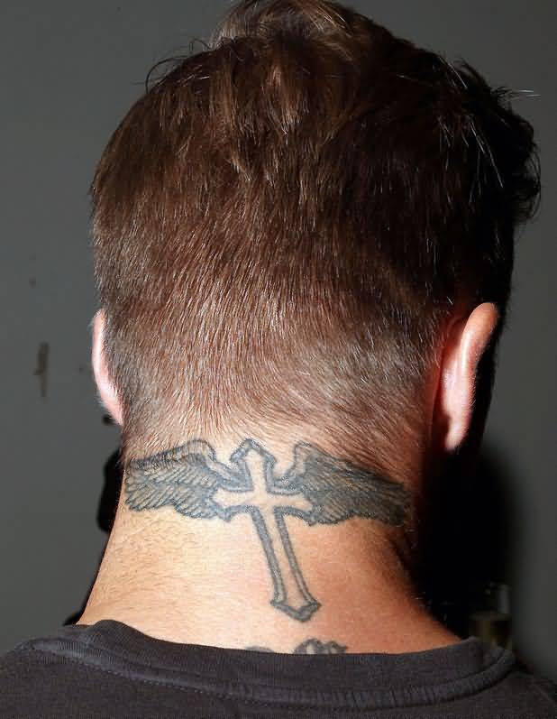 Simple Grey Ink Cross Wings Tattoo Design Make On Mens Neck Back