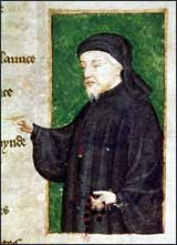 Chaucer portrait in Thomas Hoccleve's Regiment of Princes, c.1415-20