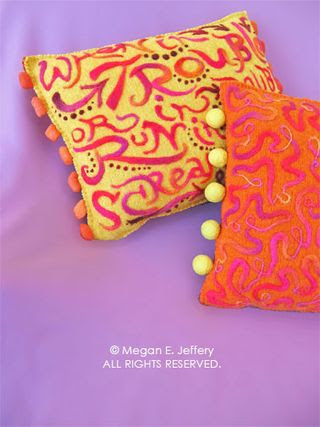 beetlegrass: Orange & Purple Needle Felted Sweater Pillows -- on ETSY