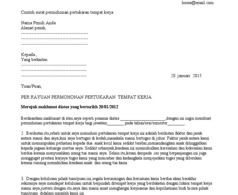 Contoh Surat Rasmi Permohonan Tukar Nama Surasmi X