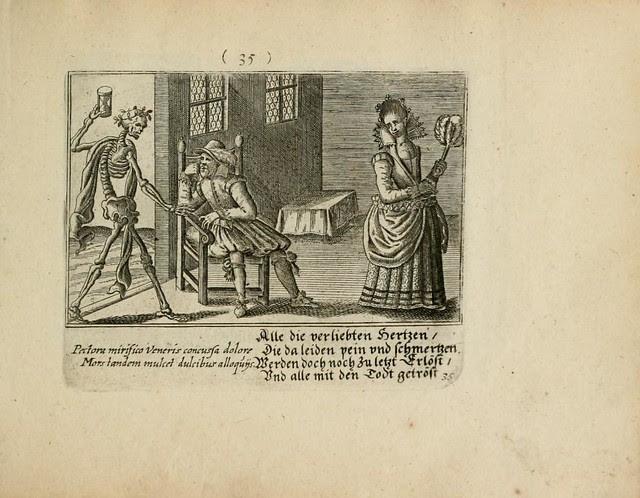 death's dance (garlanded Roman skeleton) visits baroque household