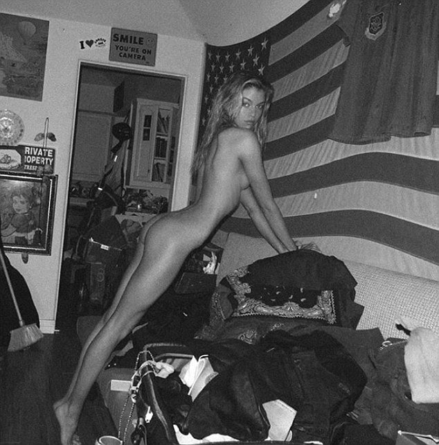 Nude: Stella Maxwell posted a naked picture to Instagram on Tuesday, as she posed in front of the American flag