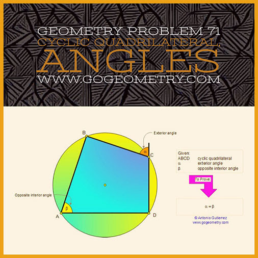 Typography of Geometry Problem 71: Cyclic Quadrilateral, Angles, Concyclic Points, iPad Apps.
