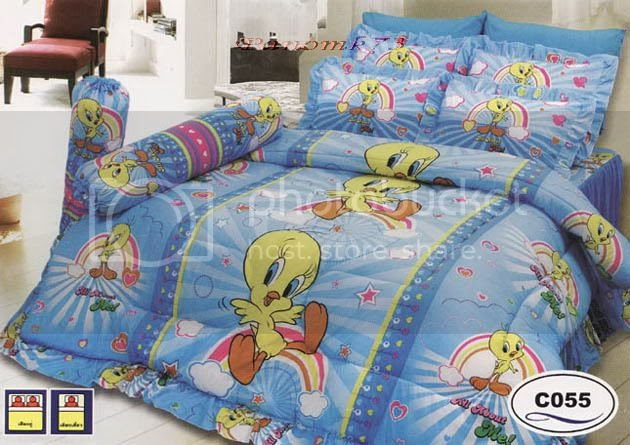 Bestforkid Tweety Bird Queen Size Bed Sheet Set 5 Pcs C055