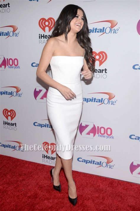 Selena Gomez White Cocktail Dress Z100?s Jingle Ball 2015