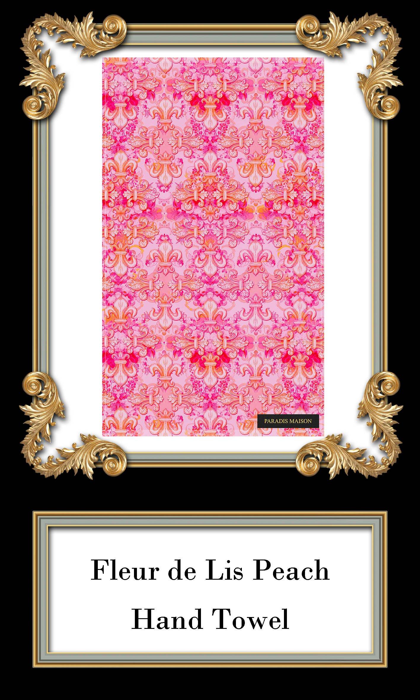 French Peach Pink Fleur De Lis Hand Towel Throw Pillows
