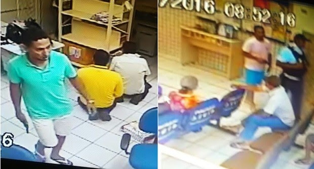 Dupla armada rendeu vigilantes e clientes; assaltantes fugiram em uma Saveiro de cor branca   (Foto: PM/Divulgação)