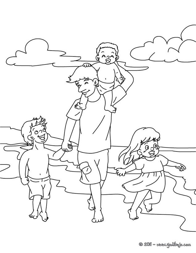 Dibujos Para Colorear Papa Con Su Hijos En La Playa Eshellokidscom