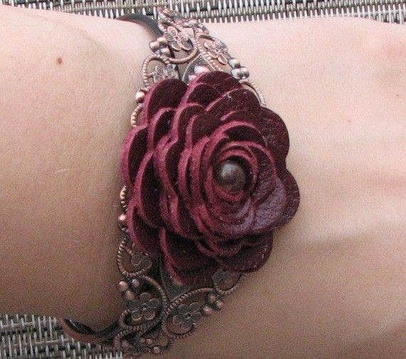 Flower bracelet leather bracelet floral cuff bracelet leather jewelry wedding jewelry mixed media jewelry burgundy metal lace bracelet. $32.00, via Etsy.