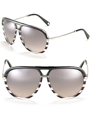 Dior Striped Acetate Aviator Sunglasses