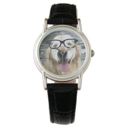 Smiling Golden Retriever Dog in Nerd Glasses Wrist Watch