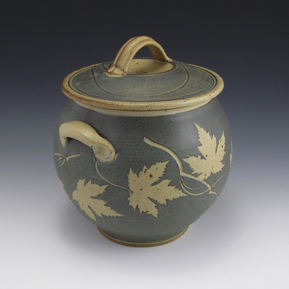 Blue Maple Leaf Jar