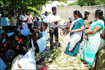 Protesters in front of Batticaloa District Secretariat