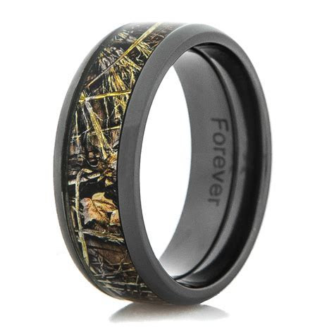 Men's Black Camo Wedding Ring   Titanium Buzz