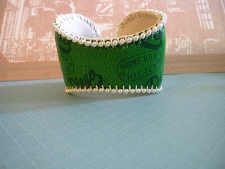 Green Leather Baseball Cuff! 6