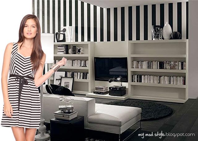 dress and room blackwhite stripes