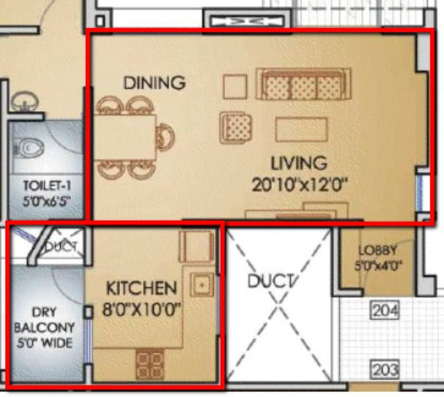 Teerth Towers 2 BHK Flat Living+Dinning+Kitchen