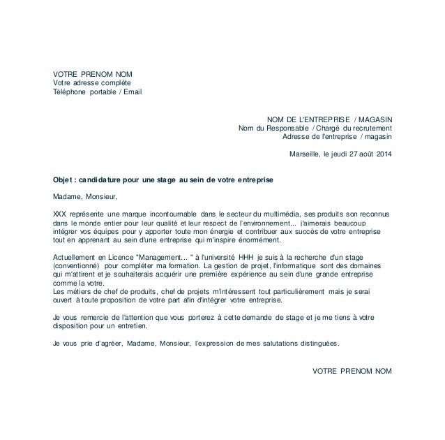 Lettre De Motivation Gestionnaire De Projet: à Lattention De Madame Lettre De Motivation