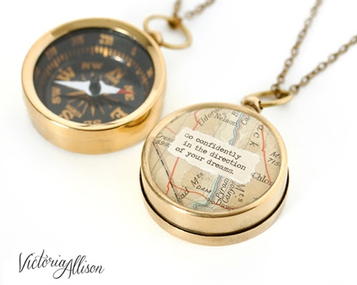 Working Compass Necklace With Vintage Map And Thoreau Or