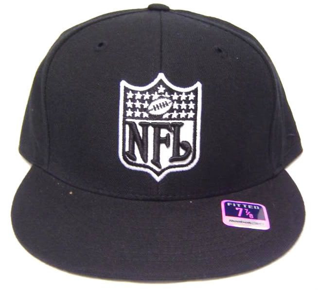Black Flatbill Fitted Cap w/ embroidered NFL Logo Rbk  eBay