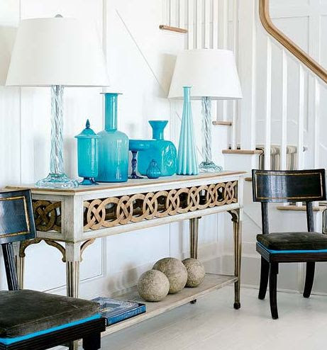 Suzanne Kasler Design | Entryway | Opaline Glass | Black & Gold Console Table