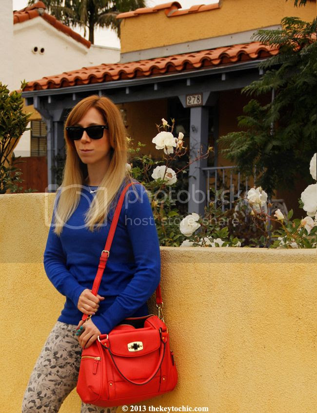 J brand floral jeans, Merona coral turnlock satchel, LA fashion blog