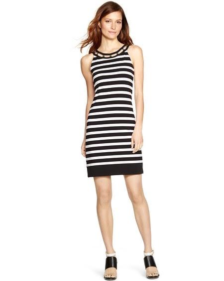 Sleeveless Black and White Stripe Shift Dress