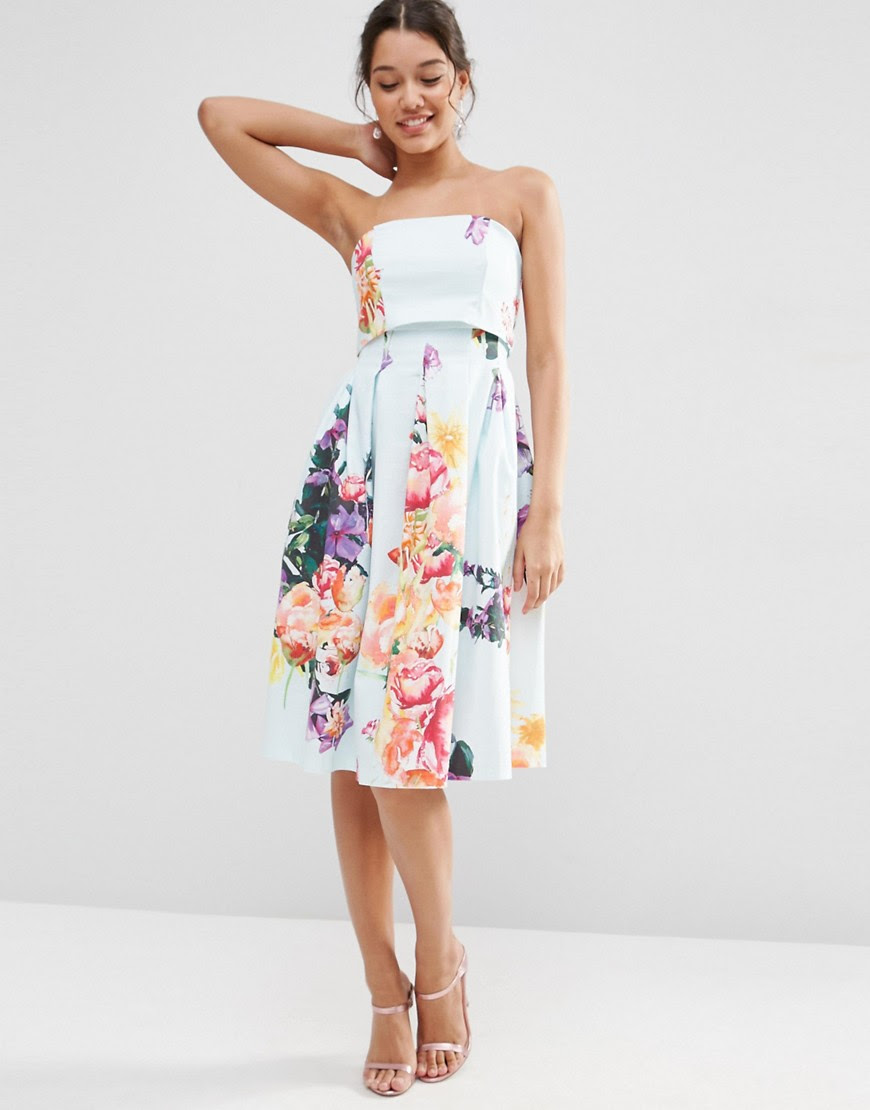 Image 1 of ASOS Fold Over Bandeau Mini Prom Dress In Placed Bouquet Floral