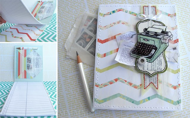 Hero Arts typewriter notebook COLLAGE mel stampz