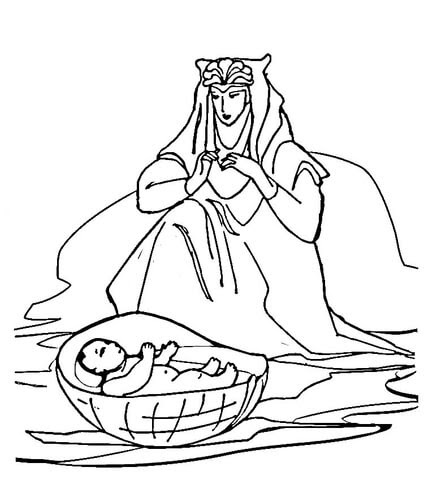 Baby Moses Coloring Page Coloringnori Coloring Pages For Kids