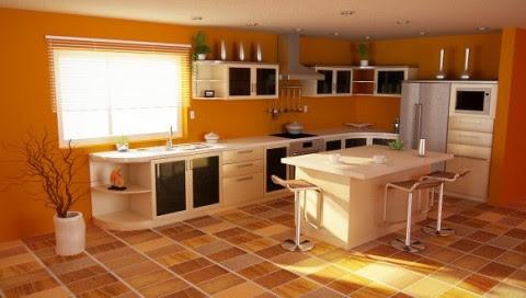 Modernas y sofisticadas cocinas en color naranja-17