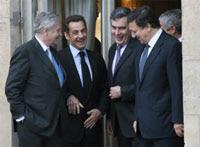 Jean-Claude Trichet,  Nicolás Sarkozy, Gordon Brown y José Manuel Barroso en el Parlamento  Europeo. Foto: AP