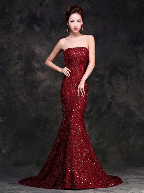 Wine red sequins strapless mermaid trailing dress evening