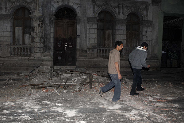 Debris in Santiago after an earthquake hit Chile