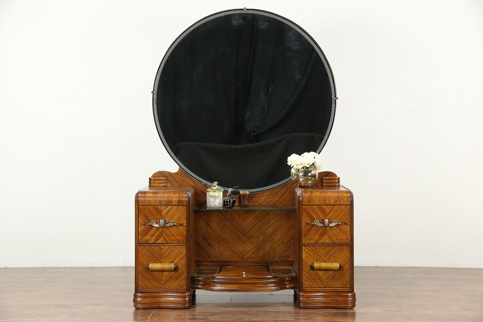 Sold Art Deco Waterfall 1930 S Vintage Vanity Or Dressing Table With Mirror Harp Gallery Antiques Furniture