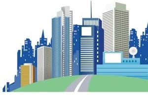 Siluet Gedung Pencakar Langit Di Kota Kota Vektor Siluet Vektor