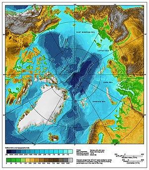 Bathymetric/topographic map of the Arctic Ocea...