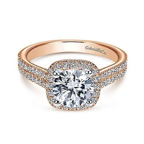 Brianna 14k White Gold Round Halo Engagement Ring