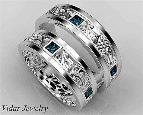 Matching Wedding Band Set,His and Hers Blue Diamond