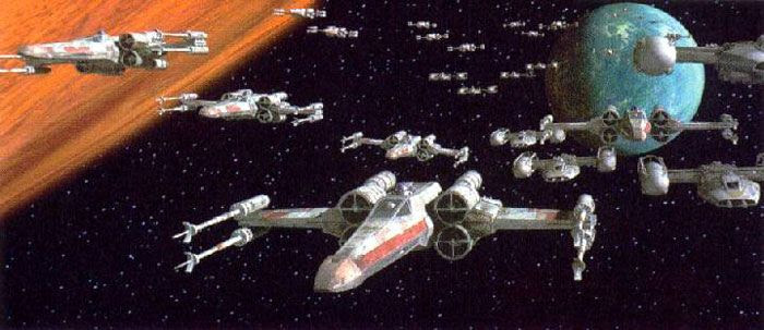 X-Wing starfighters prepare to attack the Death Star in STAR WARS: A NEW HOPE.