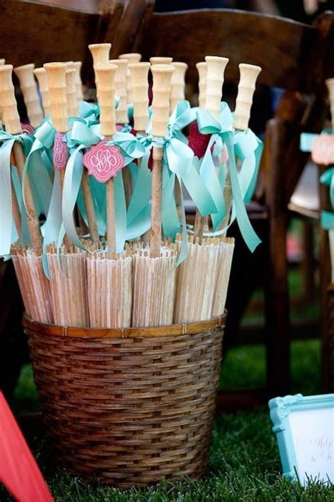 Paper parasols can be a lovely gesture to guests at an