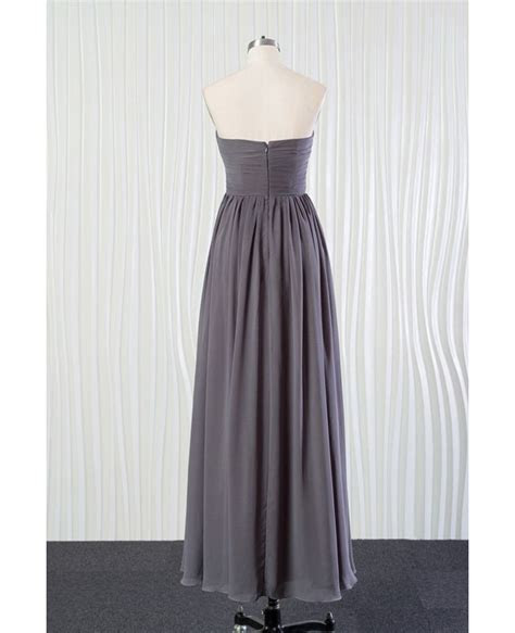 Simple Long Grey Bridesmaid Dress In Chiffon for Summer