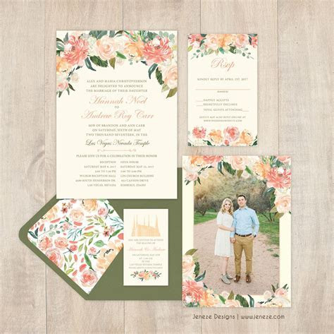 Pink and peach floral wedding invitations, perfect for a