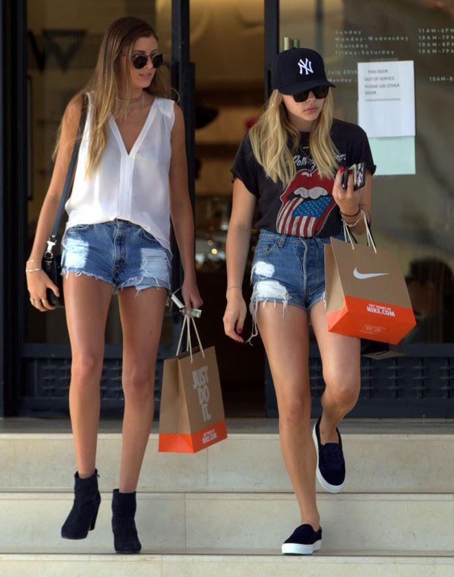 Chloe Moretz in Jeans Shorts -11