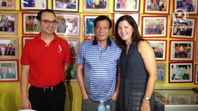 DUTERTE-CAYETANO? The popular Davao City mayor meets with senators Alan Peter and Pia Cayetano on September 29, 2015 in Davao City. Photo by Pia Ranada/Rappler