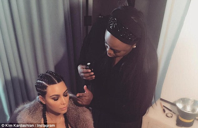 All dolled up: Kardashian teased the photo shoot to her Instagram followers in February with a snap of her holding still as Pat worked her magic